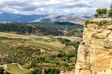 Panoramic Andalusian landscape with mountains and olive plantations as far as the eye could see in Ronda, near Malaga, Spain