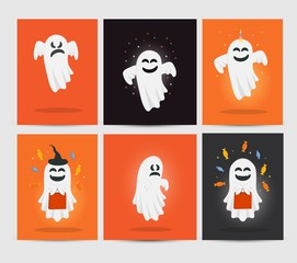 Set of funny ghosts. Happy Halloween. Cartoon character. Greeting card with ghost