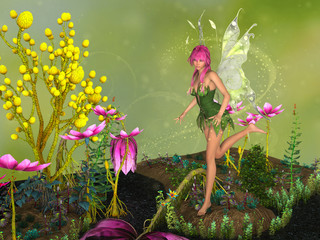 Fairy in flowers garden, surrounded with magical dust. 3D rendering.