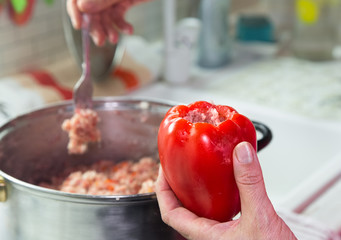 Woman hands fills sweet red pepper with minced meat and rice. Homemade stewed stuffed sweet pepper.