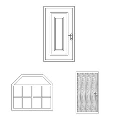 Vector illustration of door and front logo. Collection of door and wooden stock symbol for web.