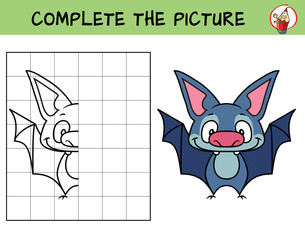 Complete the picture of a funny little bat. Copy the picture. Coloring book. Educational game for children. Cartoon vector illustration