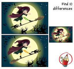 Cute little witch surfing on a broomstick. Find 10 differences. Educational game for children. Halloween cartoon vector illustration