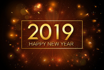 Happy New Year 2019. Greeting golden inscription on the background of fireworks. An explosion of fireworks against a dark background. Template for greeting cards, banners, invitations.