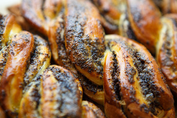 Fresh baked bakery products in close up