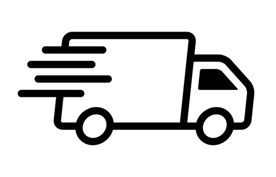 Fast moving shipping delivery truck line art vector icon for transportation apps and websites