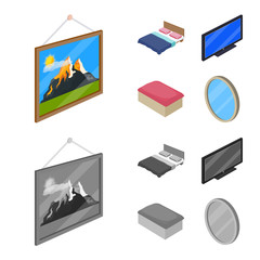 Isolated object of bedroom and room sign. Set of bedroom and furniture vector icon for stock.