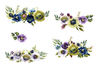 Collection watercolor wedding bouquet flowers green and purple flowers ornament