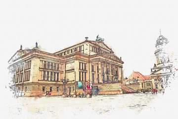A watercolor sketch or an illustration. Concert house in Berlin in Germany.
