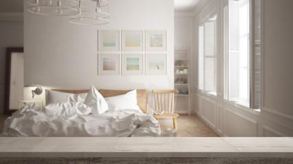 Wooden vintage table top or shelf closeup, zen mood, over blurred scandinavian minimal bedroom, white architecture interior design