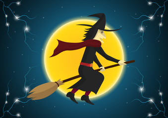 Halloween witch broom moon thunderbolt vector