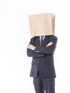 business person concept.blank space paper bag over head businessman in suit and black necktie with white background isolated.