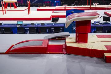Foto auf Acrylglas Gymnastik A gymnastic vaulting horse in a gymnastic arena