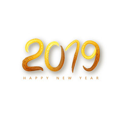 2019 Happy New Year of a golden brushstroke oil or acrylic paint lettering calligraphy design element. Vector illustration EPS10