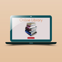 Online library with books stack.