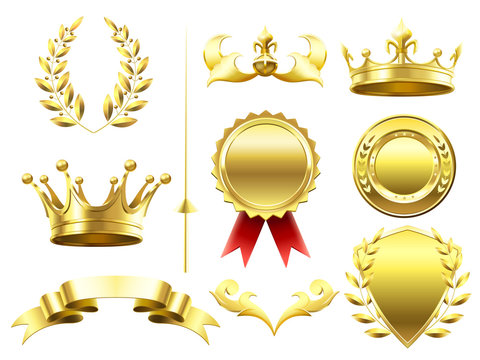 Heraldic 3D elements. Royal crowns and shields. Sport challenge winner gold medal. Laurel wreath and golden crown isolated vector set