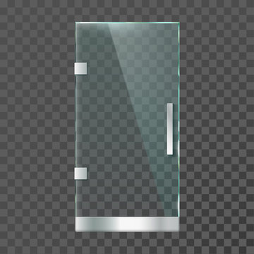 Realistic glass door. Modern clear doors with steel frame for shop store or office isolated vector illustration