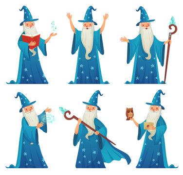 Cartoon wizard character. Old witch man in wizards robe, magician warlock and magic medieval sorcerer isolated vector set
