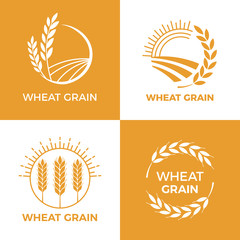 Baked wheat logo. Field wheats grain label, bake elements. Food baking insignia vector illustration set