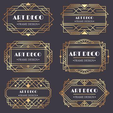 Art deco frame. Antique golden label, luxury gold business card letter title and vintage ornaments frames design vector elements