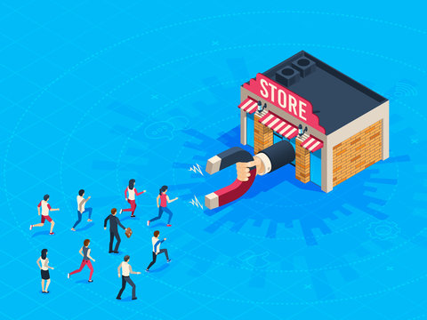 Store attraction customers. Market magnet attracted loyal customer. Inbound marketing attract clients vector isometric concept