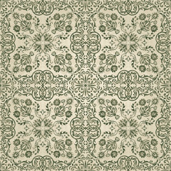 Vector damask pattern ornament. Elegant luxury texture for ceramic tiles, wallpapers, fabrics or texture backgrounds. Exquisite floral baroque element.