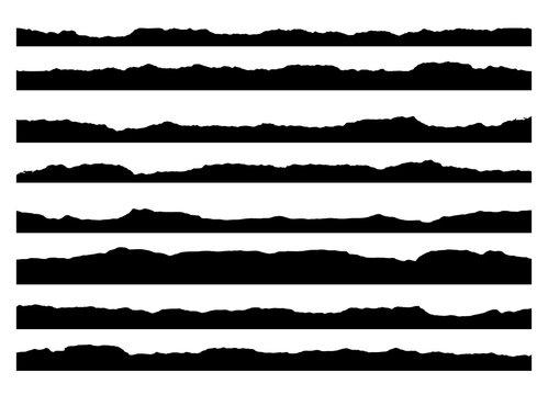 Set of grunge brush strokes. Paint edges, ink borders. Black paintbrush, Hand drawn edges pattern background. vector design template.