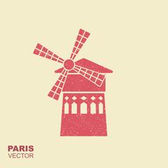 Famous landmark Moulin Rouge Paris France. Vector flat icon