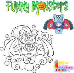 cartoon teddy bear vampire, funny illustration coloring book