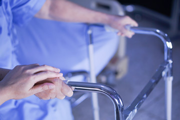 Asian senior or elderly old lady woman patient walk with walker at nursing hospital ward : healthy strong medical concept