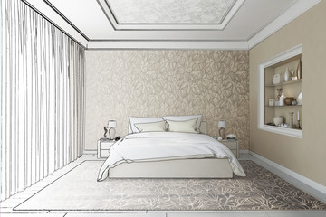 3d illustration. The sketch of the bedroom turns into a real interior