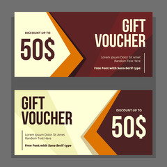 vector professional minimalist gift voucher discount template in dark brown