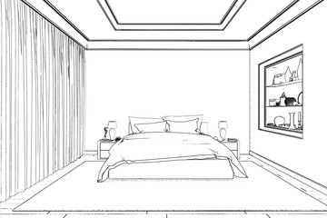 3d illustration. The sketch of the bedroom