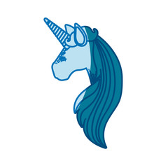 blue silhouette of faceless side view of unicorn and long striped mane