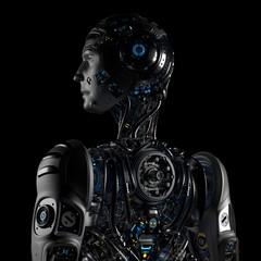 Robot Man or very detailed futuristic cyborg with uncovered internal body parts. Isolated on black background. Back view. 3D Render.