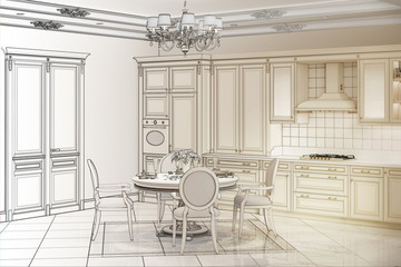 3d illustration. Sketch of kitchen turns into a real interior