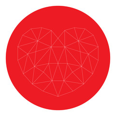Heart shape diamond in red circle. Vector.
