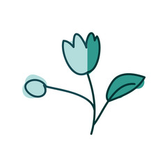 watercolor hand drawn silhouette of tulip flower with stem and leaf on aquamarine
