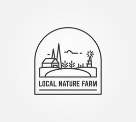 Nature farm logo. Barn, field and growing plants. Emblem representing natural beauty or agriculture. Thin line style illustration. Black lines and white transparent background.