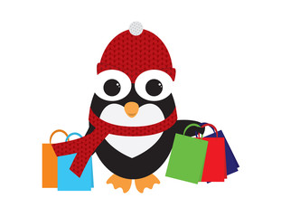Cute Penguin with Red Beanie and scarf Holding colorful shopping bags