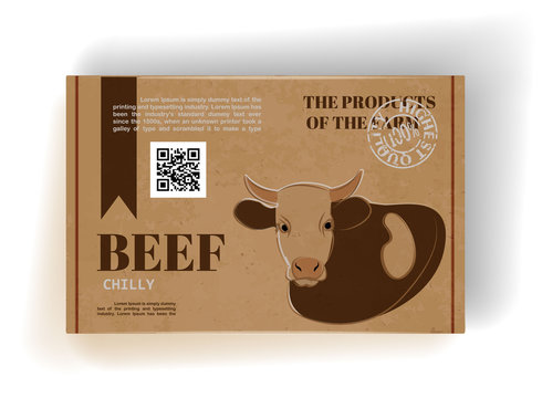 Realistic cardboard box with beef meat. Package design. Vector.
