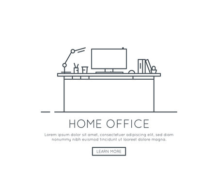 Home office or working at home concept. Computer on desk, books and table lamp. Workspace and business place. Workplace at home. Thin line vector trendy illustration banner.