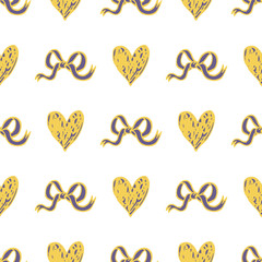 seamless pattern with hearts and bow knots on white background