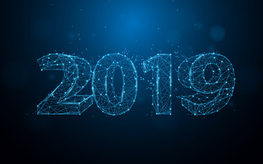 New years 2019 form lines, triangles and particle style design. Illustration vector