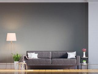 Living room with Leather sofa have pillows, Gray wall and wood floor - 3d rendering