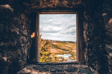 View from the castle window on the field