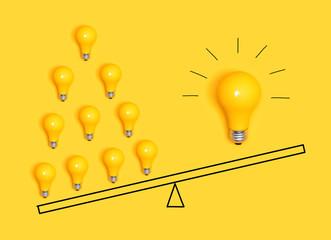 Wall Mural - Many ideas versus one big idea with light bulbs