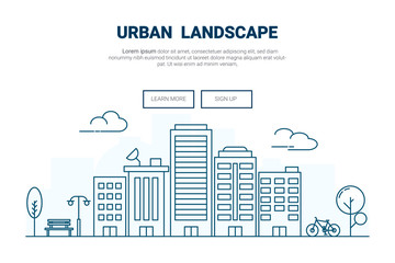 Landscape building on city concept. .design for urban cityscape theme landing page website. Thine Line art.