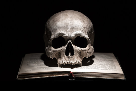 Human skull on old open book on black background. Dramatic concept.