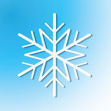 Single white snowflake on blue background. Vector eps10 illustration for winter holiday design